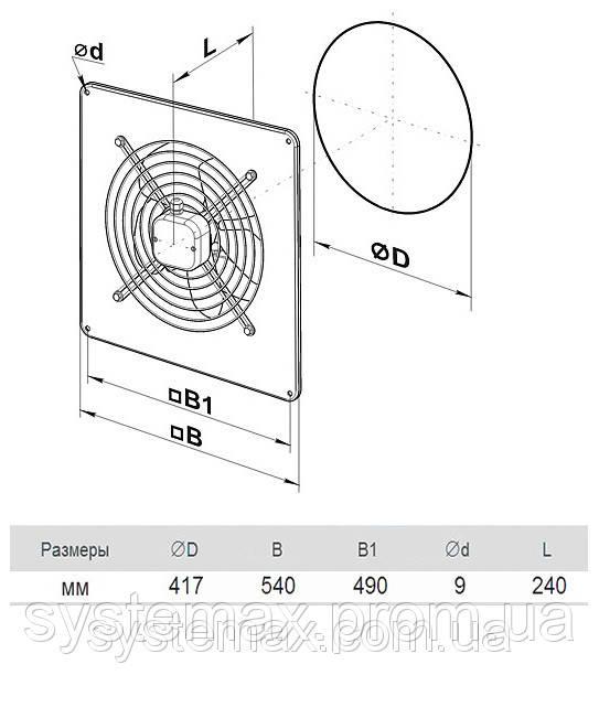 Размеры (параметры) вентилятора ВЕНТС ОВ 4Е 400