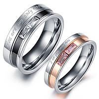 Парные кольца для влюбленных позолоченные мед сталь позолота цирконий