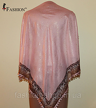 Платок женский с золотым напылением Розовый, фото 2