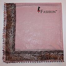 Платок женский с золотым напылением Розовый, фото 3