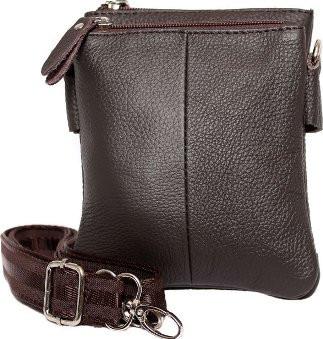 Модная кожаная мужская сумка 300142, коричневая