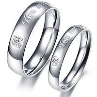 """Парные кольца для влюбленных из нержавеющей медицинской стали """"Хранители Благодати"""" циркон"""