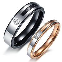 """Парные кольца для влюбленных из медицинской стали """"Хранители Тайн"""" цирконий"""