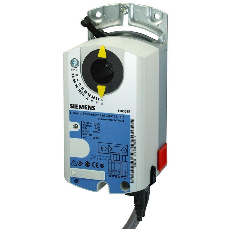 GDB136.1E Привід повітряної заслінки Siemens - 3-точкове рег., AC 24V, 5 Nм, 150 с, 2 перекл.