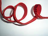 Резинка бархатная, красная 10мм ширина, фото 4