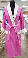 Халат женский махра/велюр (розовый)