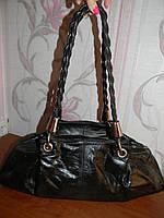 Шикарная черная кожаная сумка Biba, фото 1