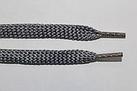 Шнурки плоские (чехол) 8 мм. св.серый+серебро