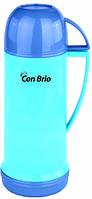 Вакуумный термос со стеклянной колбой 450 мл голубой Con Brio CB - 350