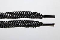 Шнурки плоские (чехол) 8 мм. черный+серебро, фото 1