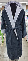 Халат мужской махровый Velsoft (TM Zeron) серый с серым