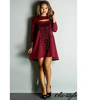 Стильное женское    бордовое   платье Соланж    Olis-Style 44-52 размеры