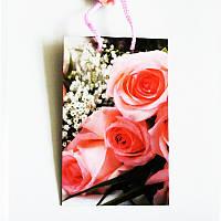 Подарочный пакет Малый 11х18х5 Розовые розы