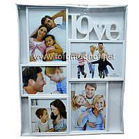 Мультирамка LOVE  пластиковая,коллаж (рамки для фотографий на стену) 2/13х18см.1/18х13см.1/15х10см.1/10х10см.