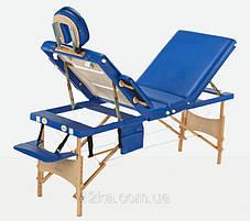 Массажный стол BODYFIT 4 секционный деревянный, синий, фото 2