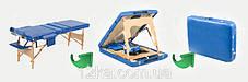 Массажный стол BODYFIT 4 секционный деревянный, синий, фото 3