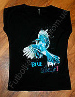 Женская футболка синяя птица