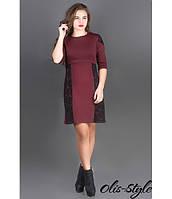 Трикотажное женское бордовое  платье Оника  Olis-Style 44-52 размеры