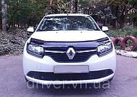 Дефлектор капота (мухобойка) Renault Logan 2012-, на крепежах