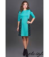 Трикотажное женское бирюзовое  платье Оника  Olis-Style 44-52 размеры