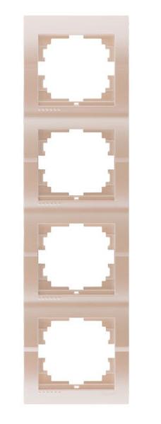 Lezard Deriy Рамка 4-ая вертикальная б/вст Жемчужно-белый перламутр