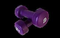Неопреновые гантели 2 кг (пара), фиолетовые