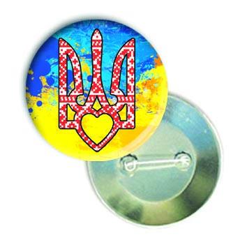 """Закатной значок круглый с украинской символикой """"Герб"""""""