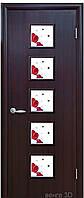 Дверь КВАДРА ФОРА экошпон: венге 3D, дуб жемчужный, кедр, ясень патина, сандал (стекло с рис. Р1) тип1