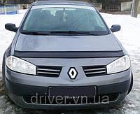 Дефлектор капота (мухобойка) Renault Megan II 2002-2008, на крепежах