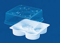 Упаковка для кексов,пирожных на 4 ячейки