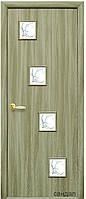 Дверь КВАДРА РОНДА экошпон: венге 3D, дуб жемчужный, кедр, ясень патина, сандал (стекло с рис. Р) тип1
