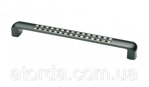 Ручка мебельная Ozkardesler SEDAN 5288-012 с камнями 128мм Матовая Черная