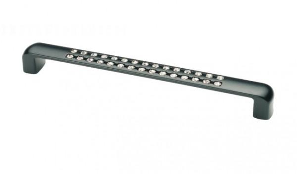 Ручка меблева Ozkardesler SEDAN 5289-012 з камінням 160мм Матова Чорна