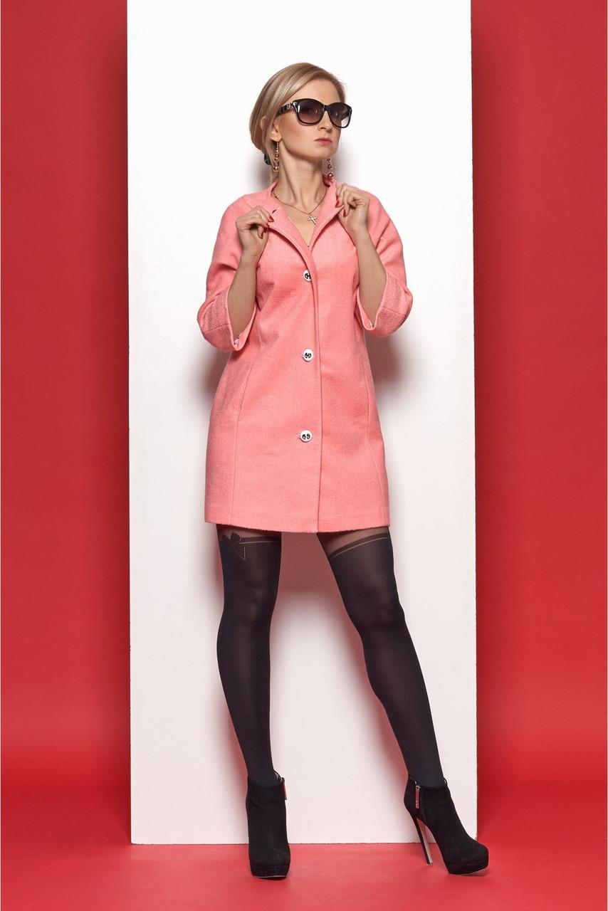 Женское стильное пальто в стиле «Шанель» персикового цвета