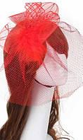 Шляпка красная с вуалью