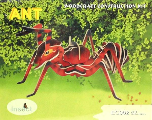Цветная сборная деревянная 3D модель, 2 пластины - муравей
