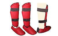 Защита голени с футами для единоборств PVC UR HO-4274-B (р-р S-XL, синий,красный)
