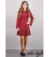 Молодежное женское бордовое платье Мальдива    Olis-Style 44-52 размеры
