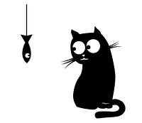 Наклейка Кот и рыбка