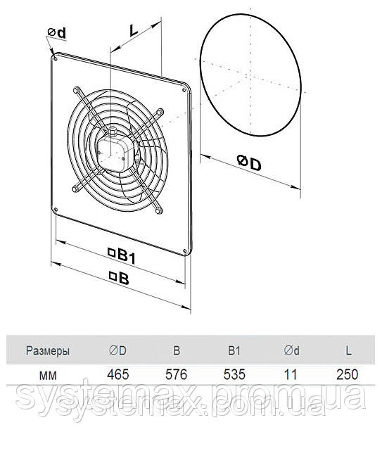 Размеры (параметры) вентилятора ВЕНТС ОВ 4Е 450