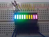 Светодиодный 10 сегментный прогресс бар 2 красный + 3 желтый + 4 зеленый + 1 синий свет, фото 3