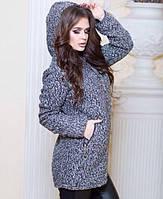 Женское серое пальтишко без подкладки с капюшоном. Материал шерсть букле. Размер универсальный 44-50.