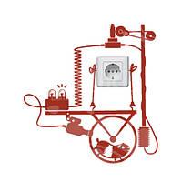 Необычная виниловая наклейка на розетку Хомяк-электростанция (наклейки животные, декор розеток)