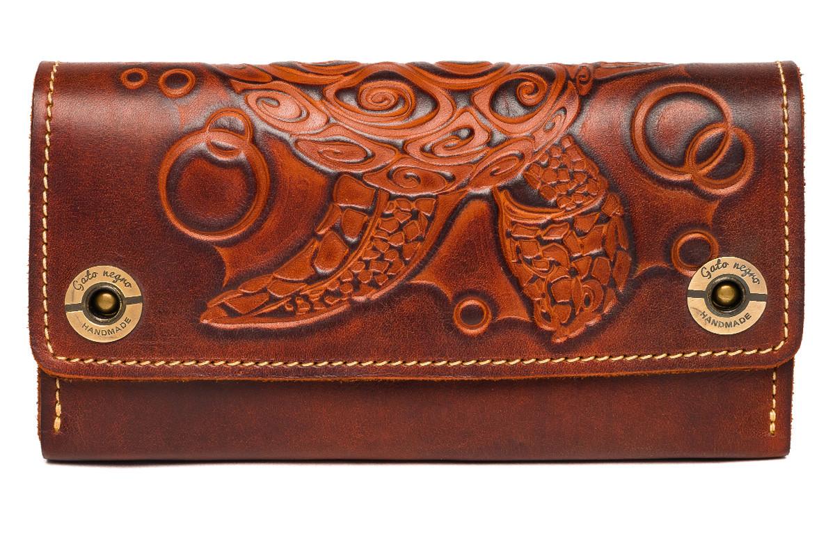 c77347bd7367 Кожаный кошелек ручной работы Gato Negro Alfa Big Turtlе женский,коричневый  (женские кошельки из