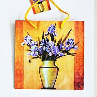 Подарочный пакет ЧАШКА 16х16х7,5 Цветы в вазе