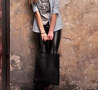 Сумка женская большая шоппер натуральная кожа черная (ручная работа)