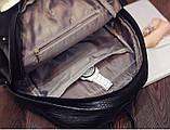 Рюкзак женский кожаный с горизонтальной молнией (черный), фото 6