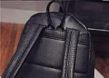 Рюкзак женский кожаный с горизонтальной молнией (черный), фото 7