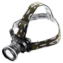 Ліхтарик налобний металевий POLICE BL-6807 XPE 120000W+ЗУсеть+авт 3реж zoom
