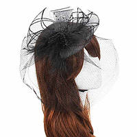 Шляпка с вуалью черная
